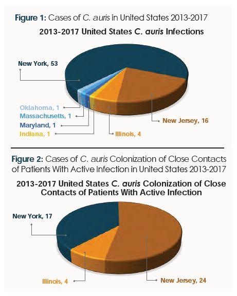 Cases of C. auris in United States