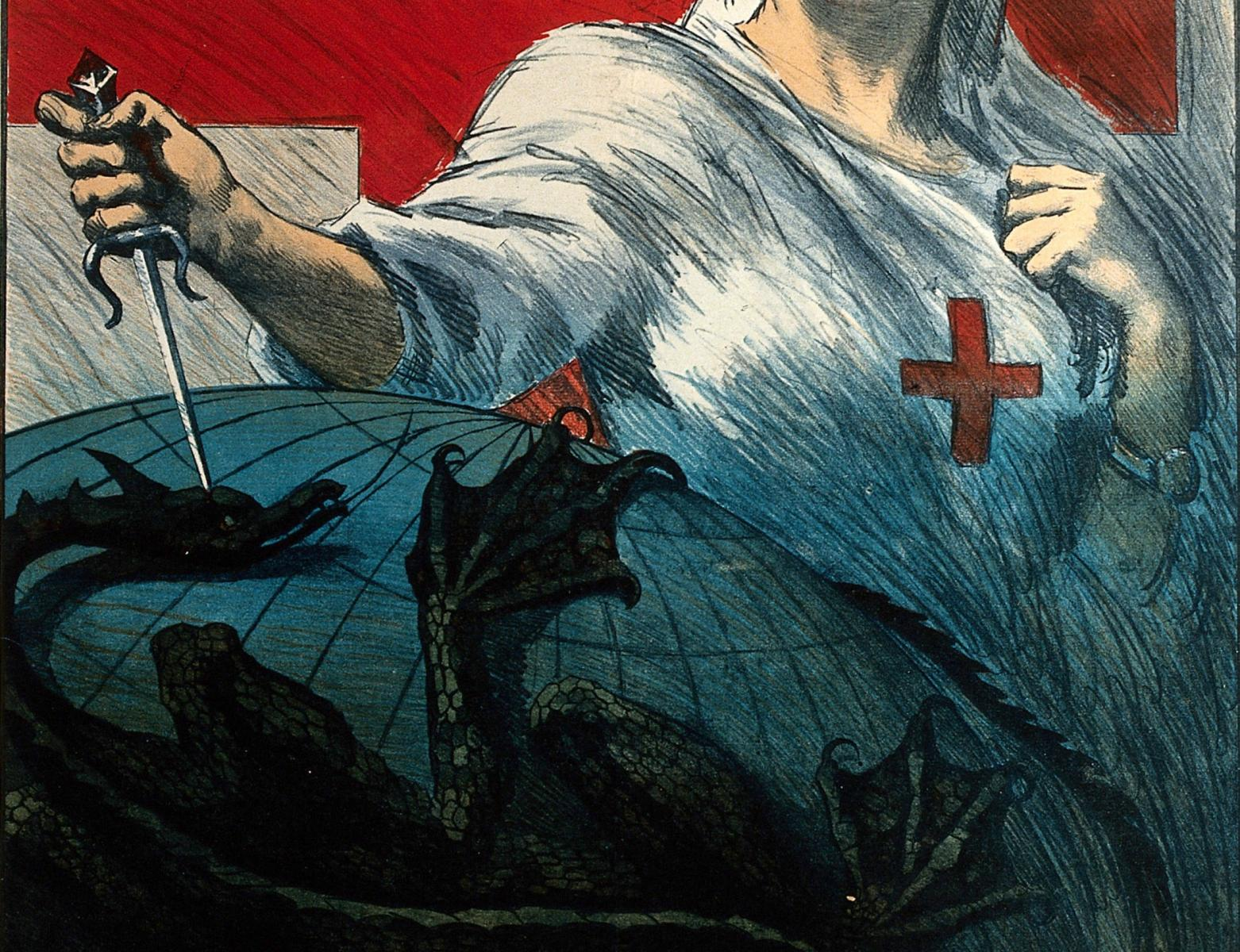 Dis-Ease still: A nurse stabbing a dragon holding the globe in its claws (Italian Red Cross tuberculosis appeal, c. 1920, Wellcome Collection)