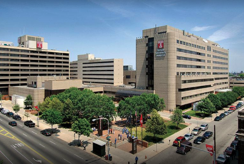 Temple University Hospital campus. Boyer Pavilion is on the left side, and Rock Pavilion is on the right.